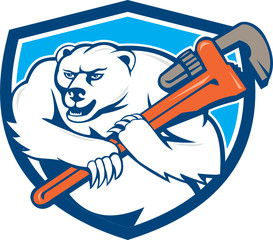 Polar Bear Plumber Monkey Wrench Shield Cartoon