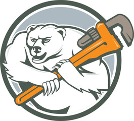 Polar Bear Plumber Monkey Wrench Circle