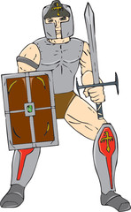 Knight Wielding Sword and Shield Cartoon
