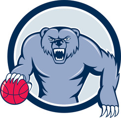 Grizzly Bear Angry Dribbling Basketball Cartoon