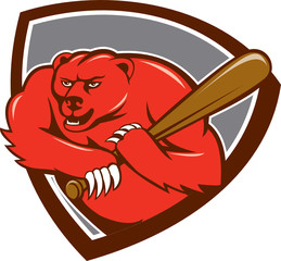 Grizzly Bear Baseball Player Batting Shield Cartoon