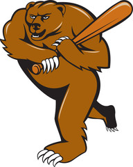 Grizzly Bear Baseball Player Batting Cartoon