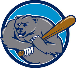Grizzly Bear Baseball Player Batting Circle Cartoon