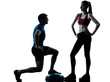 coach man woman exercising squats on bosu silhouette