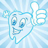 Fototapety cartoon tooth with burst background