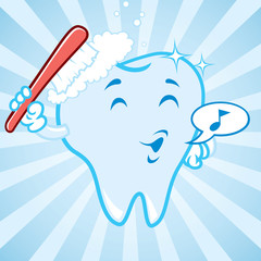 cartoon tooth with burst background
