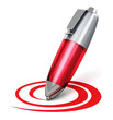 Red pen drawing circular shape