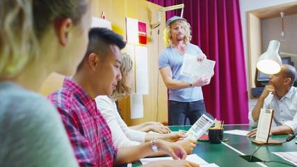 Creative casual business team in informal meeting