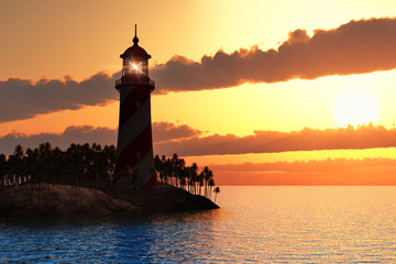 Dramatic sunset with lighthouse on island in sea