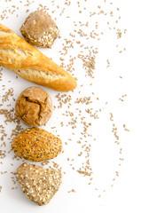 Gesunde Brötchen und Baguette