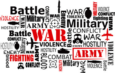 war violence word cloud red and black vector illustration eps.10
