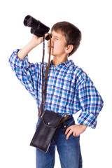 Boy looking to spyglass