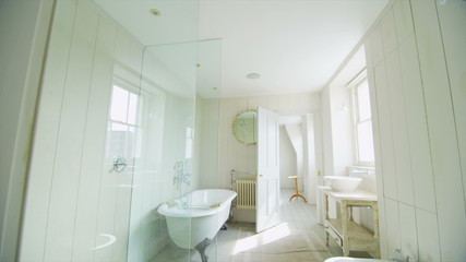 View of elegant bathroom in a stylish, classical home with a contemporary feel