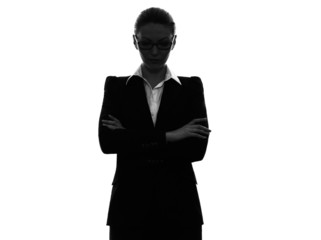 business woman arms crossed portrait  silhouette