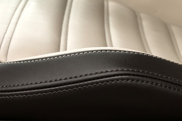 Detail of leather car seat. Horizontal photo.