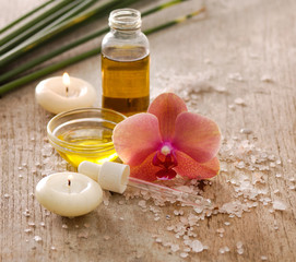 Aromatic spa set with candle , tropical flower, candle