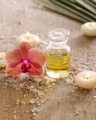 spa set with candle , orchid,, candle and oil