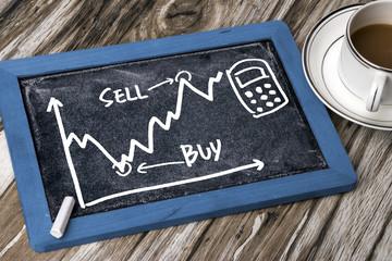 stock exchange graph hand drawing on blackboard