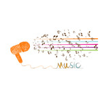i love music doodle art with note poster