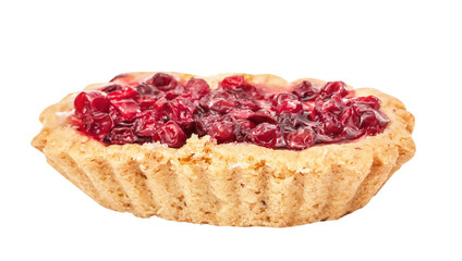 Delicious cake with cowberry isolated on white