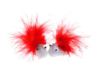 White Pet Rocks with Red Feathers