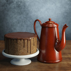 Delicious chocolate cake with retro coffee pot. Grey wall