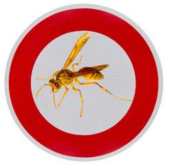 panneau attention danger piqûres de guêpes