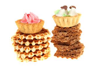 Tasty cake and waffles