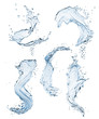 Set of different water splashes on white background.