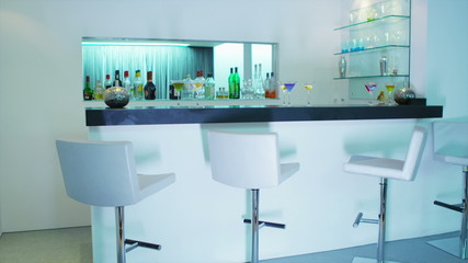 Stylish contemporary white bar interior - no people