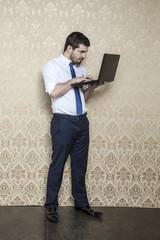 focused businessman working on new hardware