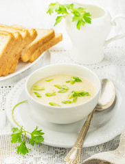 Thick egg soup with chicken broth