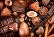 Chocolates background. Praline chocolate sweets - 80560807