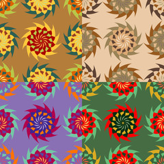 Set of colorful seamless designs