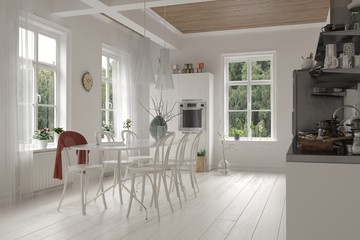 Open-plan white kitchen and dining room interior