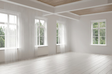 Large empty spacious bright white loft room