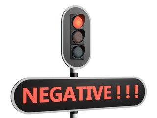 "Rood stoplicht met Engelse tekst ""negative"""