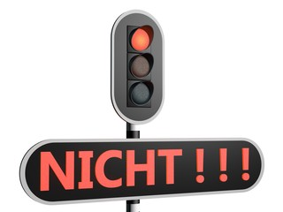 "Rood stoplicht met Duitse tekst ""Nicht"""