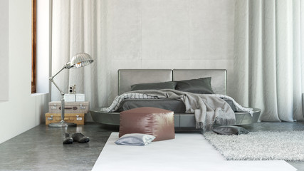 Luxury bedroom interior with grey decor