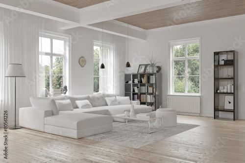 Modern loft living room interior - 80561226