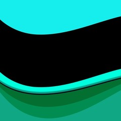 Abstract wavy turquoise blue green background with black ribbon