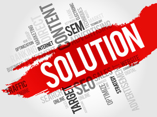 SOLUTION word cloud, business concept
