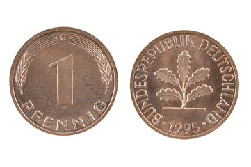 Old coin of Germany one pfenning.