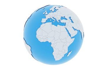 Erde Europa Afrika Länder - hellgrau blau