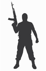 Black silhouette of a soldier terrorist