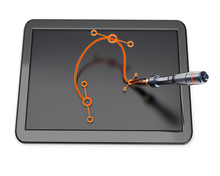 Graphic tablet with bezier curve and pen