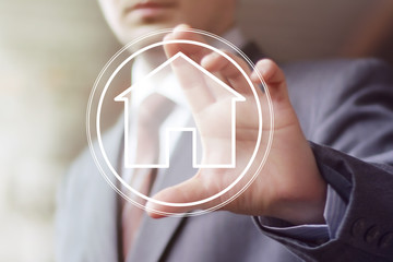 Man with touchscreen house network web