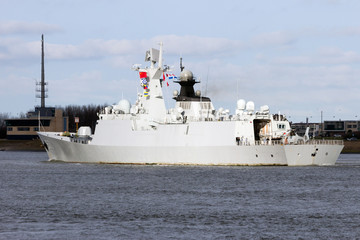 Chinese Navy frigate leaving Rotterdam