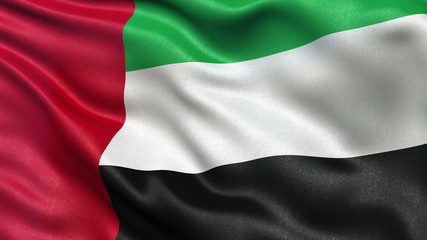Seamless flag of the United Arab Emirates waving in the wind