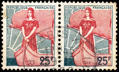Stamp printed in France shows Marianne